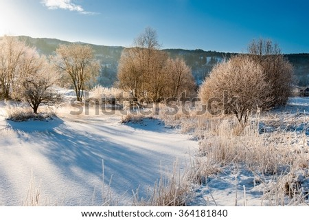 A cold morning in Norway at winter time. - stock photo
