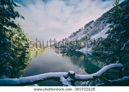 A cold snowy Loch Uaine, Glenmore Forest, Cairngorms in the Scottish Highlands, UK. Added grain and colour styling. - stock photo