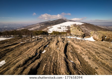 A cold view of Roan Mountain from Janes Bald in the Great Smoky Mountains National Park along the Appalachian Trail - stock photo
