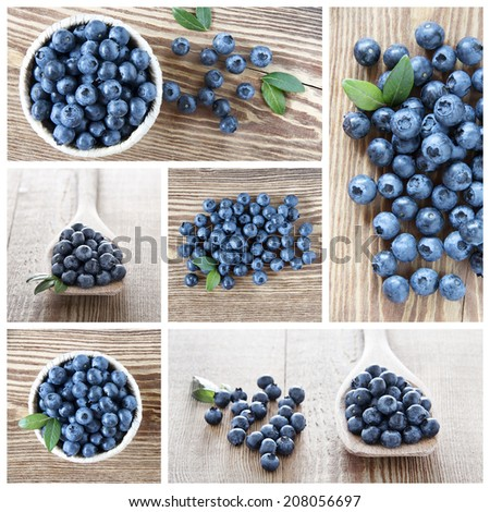 A collage about blueberries fruits