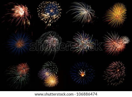 A Collage collection of various fireworks display - stock photo