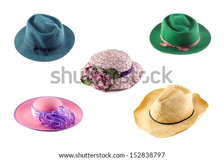 A collage of assorted hats isolated on a white horizontal background