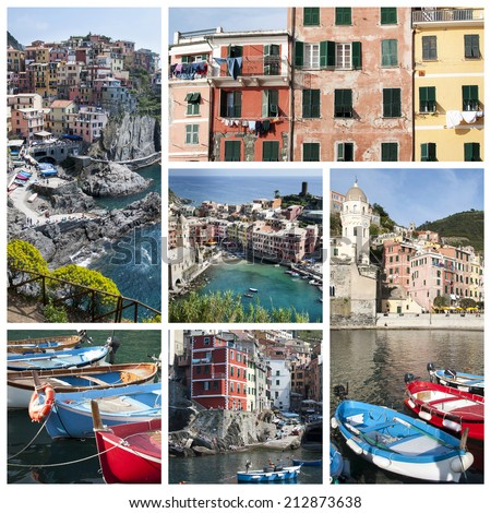 A collage of Cinque Terre photos - Italy - stock photo