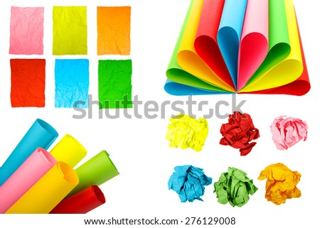 A collage of colored paper - stock photo
