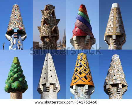 A collage of 8 colorful chimneys on Palau Guell, Barcelona, Spain designed by Antoni Gaudi. - stock photo