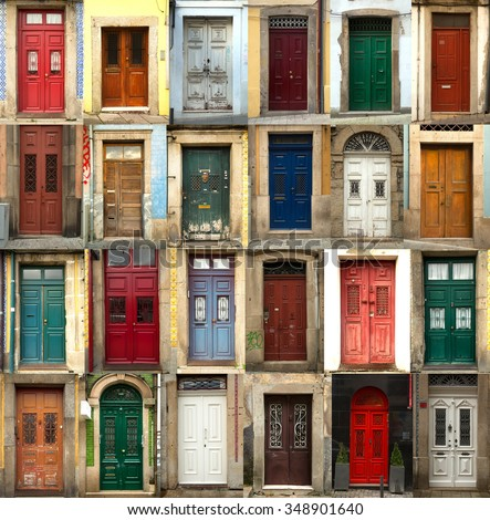 A collage of coloured portuguese doors from Porto city in Portugal & Collage Coloured Portuguese Doors Porto City Stock Photo (Royalty ...