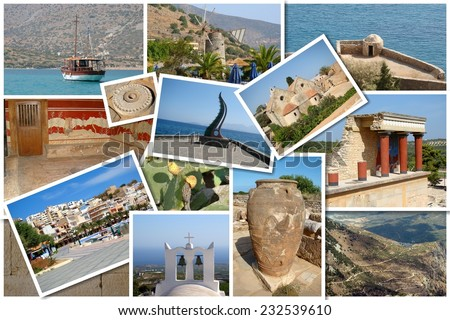 A collage of Crete island, Greece, Europe - stock photo
