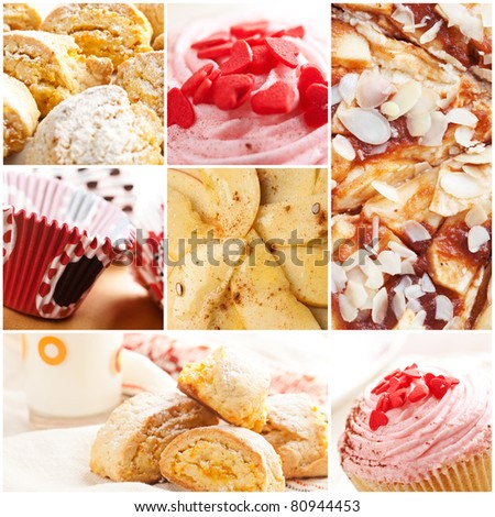 a collage of different kind of sweets - stock photo