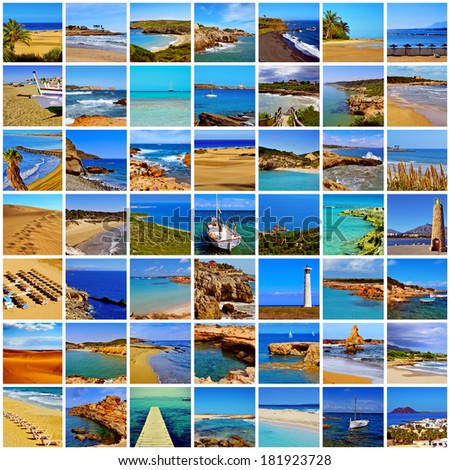 a collage of different spanish beaches, in the mainland and in the Balearic Islands and the Canary Islands - stock photo