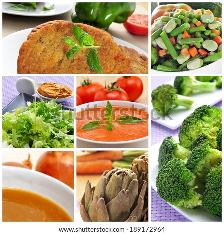 a collage of different vegan meals, such as veggie burgers, gazpacho, onion soup or broccoli - stock photo