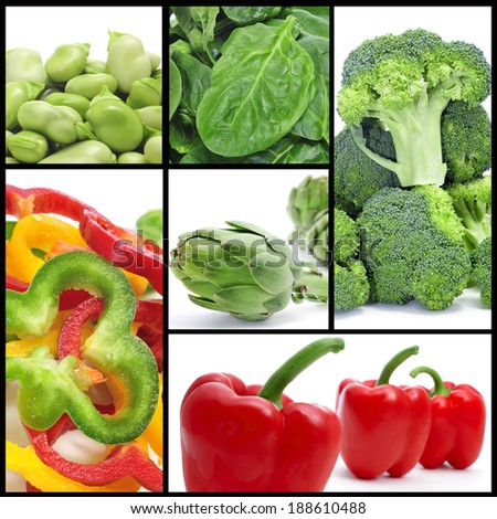 a collage of different vegetables, such as artichokes or broccoli - stock photo