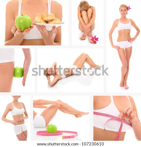 A collage of eight pictures presenting a beautiful fit woman taking good care of her body - stock photo