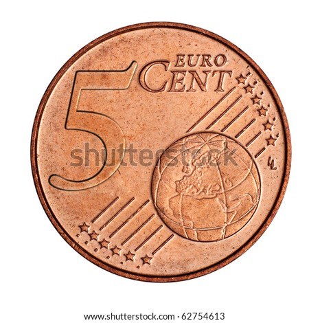 A collage of 5 euro cent coin - stock photo