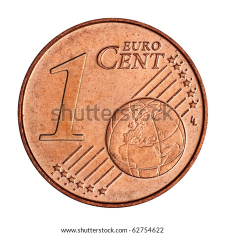A collage of  1 euro cent coin - stock photo