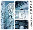 a collage of four pictures of different business items, such as office buildings, a laptop or account reports - stock photo