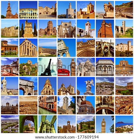 a collage of many pictures of different european landmarks, such as the Eiffel Tower in Paris, the Colosseum in Rome or the Big Ben Tower in London - stock photo