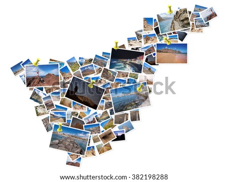 A collage of my best travel photos of Tenerife, forming the shape of Tenerife island.  Yellow pushpin showing the locations of most famous Tenerife Landmarks. - stock photo