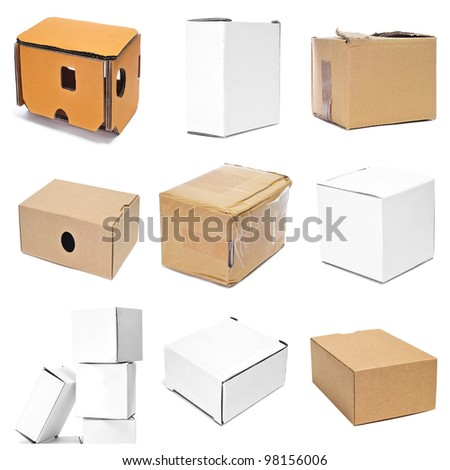 a collage of nine pictures of different boxes