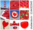a collage of nine pictures of different red things, as the Golden Bridge, tomato sauce, baby plum tomatoes, Piquillo peppers, a heart sign, strawberries, a heart-shaped balloon or red wine - stock photo