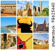 a collage of nine pictures of different scenes of Spain - stock photo