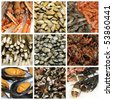 a collage of nine pictures of different seafood - stock photo