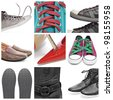 a collage of nine pictures of different shoes and sneakers - stock photo