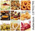 a collage of nine pictures of different spanish tapas, such as calamares a la romana (squid rings), mejillones a la marinera (mussels in marinara sauce) or spanish omelette or patatas bravas - stock photo