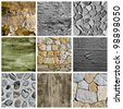 a collage of nine pictures of different textured surfaces - stock photo