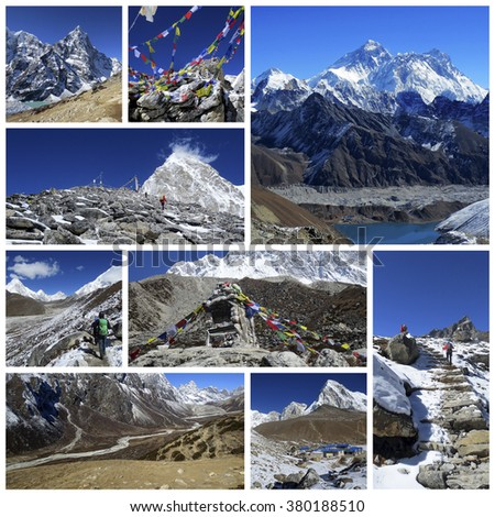 A collage of photos about a trekking in Nepal - stock photo