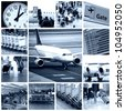 A collage of photos about business travel in airplane - stock photo