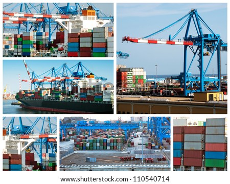 A collage of photos about cargo shipping theme - stock photo