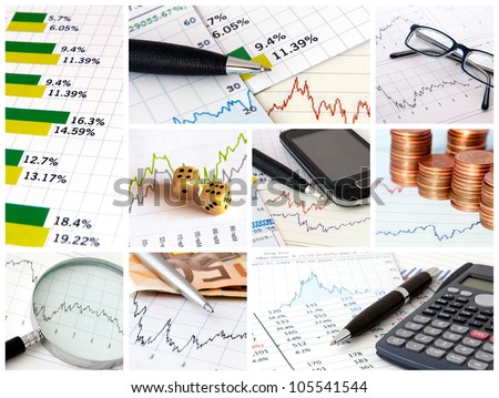 A collage of photos about finance theme - stock photo