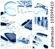 A collage of photos about finance theme - blue tone - stock photo