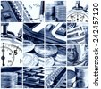 A collage of photos on the subject of business, time and money. Blue tone. - stock photo