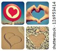 a collage of pictures of different heart-shaped things - stock photo