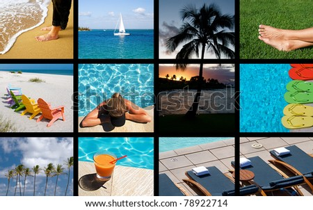 A collage of scenic images for a relaxing summer - stock photo