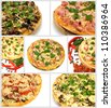 a collage of seven images on a pizza - stock photo