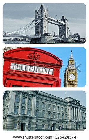 a collage of some pictures of different landmarks in London, United Kingdom - stock photo