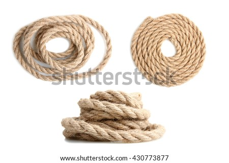 a collage of strong rope wound on a white isolated background