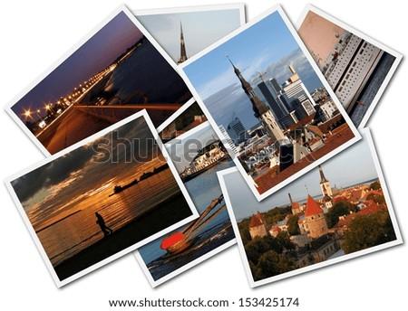 A collage of Tallinn Estonian photos on the white background - stock photo