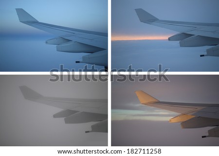 A collage of the same airplane wing under different lighting and times.  - stock photo