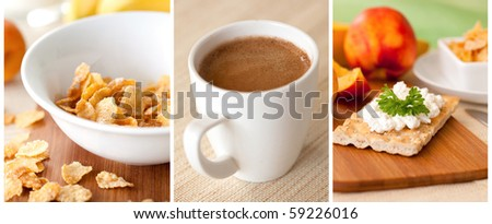 a collage of three pictures breakfast - stock photo