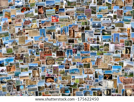 a collage of travel photos from around the world - stock photo