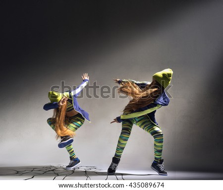 A collage of two photos with dancing girl - stock photo
