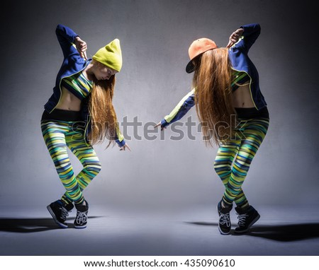A collage of two photos with dancing girl in a tracksuit - stock photo