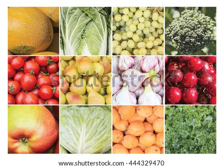 A collage of vegetable edible ingredients - stock photo