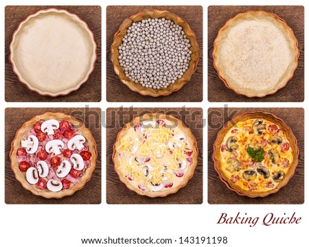 A collage showing the stages of baking a quiche, from pastry through baking blind to the finished product. - stock photo