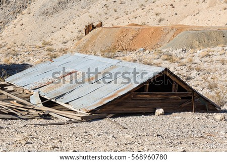 A collapsed building once used as part of a mining operation inside Death Valley National Park