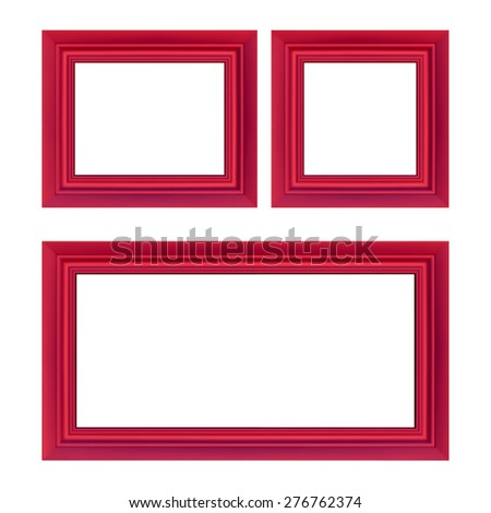 A collection classic wooden frame with red of roses. - stock photo