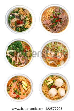 A collection noodle soups in Vietnamese food